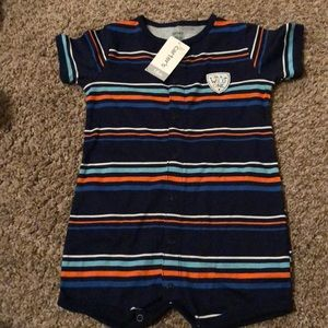 *New with Tags* Navy blue striped romper/onesie